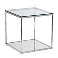 Clarkesburg Glass End Table with Mirrored Shelf