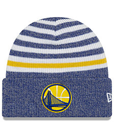 New Era Golden State Warriors Striped Cuff Knit Hat