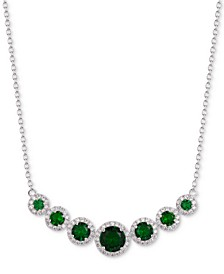 """Cubic Zirconia Multi-Stone Halo 18"""" Statement Necklace in Sterling Silver"""