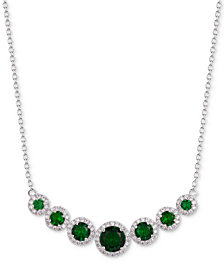 "Tiara Cubic Zirconia Multi-Stone Halo 18"" Statement Necklace"
