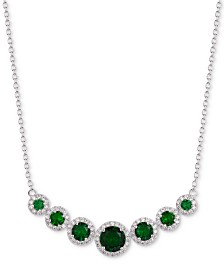 "Tiara Cubic Zirconia Multi-Stone Halo 18"" Statement Necklace in Sterling Silver"