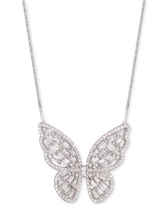 2 x SILVER PLATED BUTTERFLY PENDANT CHAIN NECKLACE