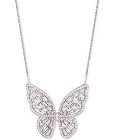 """Cubic Zirconia Baguette Butterfly 18"""" Pendant Necklace"""
