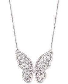 "Tiara Cubic Zirconia Baguette Butterfly 18"" Pendant Necklace"