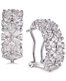 Tiara Cubic Zirconia Marquise Flower Hoop Earrings in Sterling Silver