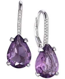 Tiara Cubic Zirconia Teardrop Drop Earrings in Sterling Silver