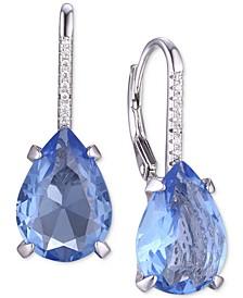 Cubic Zirconia Teardrop Drop Earrings in Sterling Silver
