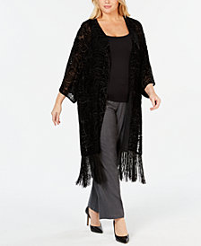 Anne Klein Plus Size Velvet Burnout Cardigan