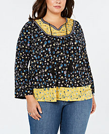 Style & Co Plus Size Contrast-Print Ruched Top, Created for Macy's