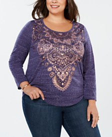Style & Co Plus Size Metallic Graphic Top, Created for Macy's