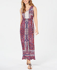 Style & Co Crochet Bib Maxi Dress, Created for Macy's