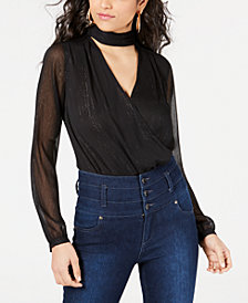 GUESS Camilla Choker-Neck Sheer-Sleeve Bodysuit