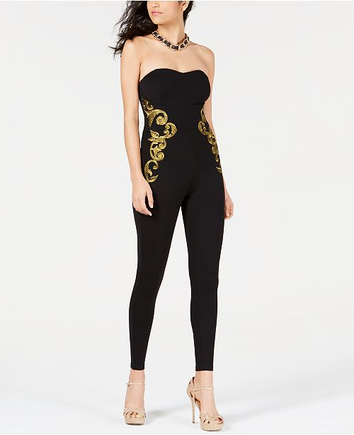 fb2548d9340 GUESS Bianca Embroidered Strapless Jumpsuit  GUESS Bianca Embroidered  Strapless Jumpsuit ...