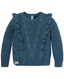 Polo Ralph Lauren Toddler Girls Ruffled Aran-Knit Cotton Sweater