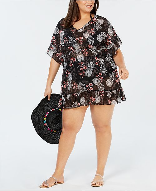 Miken Plus Size Juniors\' Printed Cover-Up & Reviews ...