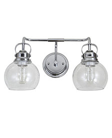 Jonathan Y Shirley 2-Light Metal, Bubbled Glass Vanity Light