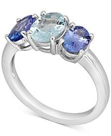 Aquamarine (1 ct. t.w.) & Tanzanite (1-1/2 ct. t.w.) Ring in 10k White Gold
