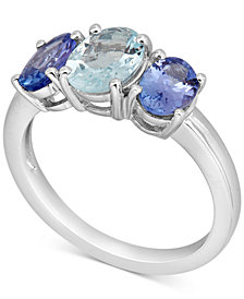 Aquamarine (1 ct. t.w.) & Tanzanite (1-1/2 ct. t.w.) Ring in 10k White Gold