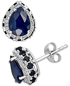 Sapphire (6 ct. t.w.) & White Sapphire (1/4 ct. t.w.) Earrings in 10k White Gold