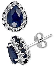 Sapphire (6 ct. t.w.) & White Sapphire (1/4 ct. t.w.) Earrings in 10k White Gold