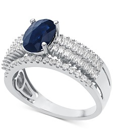 Sapphire (1-1/3 ct. t.w.) & Diamond (5/8 ct. t.w.) Ring in 14k White Gold(Also Available In Ruby and Emerald)