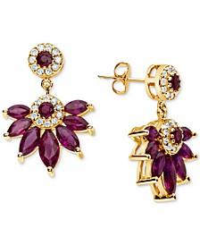 Certified Ruby (4 ct. t.w.) & Diamond (1/4 ct. t.w.) Drop Earrings in 14k Gold