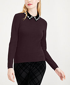 Maison Jules Embellished-Collar Sweater, Created for Macy's