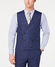 Lauren Ralph Lauren Men's Classic-Fit UltraFlex Blue Plaid Double-Breasted Suit Vest