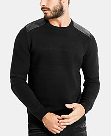 GUESS Men's Waffle Knit Shoulder Patch Sweater