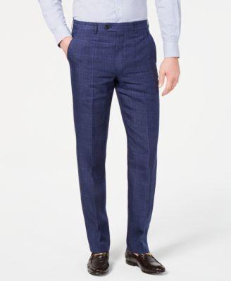 Men's Classic-Fit UltraFlex Stretch Blue Plaid Linen Suit Pants