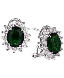 Cubic Zirconia Oval Stud Earrings in Sterling Silver