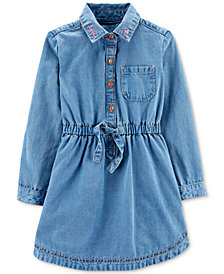 Carter's Toddler Girls Cotton Embroidered Denim Shirtdress
