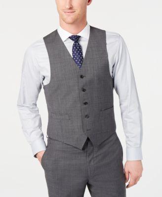 Men's Classic-Fit UltraFlex Stretch Gray Sharkskin Suit Vest