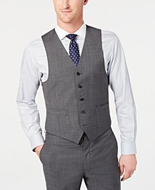 Men's Classic-Fit UltraFlex Stretch Gray Sharkskin Suit Vest