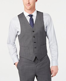 Lauren Ralph Lauren Men's Classic-Fit UltraFlex Stretch Gray Sharkskin Suit Vest