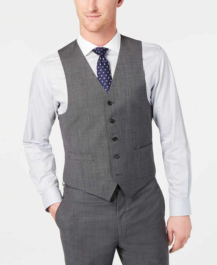 Lauren Ralph Lauren - Men's Classic-Fit UltraFlex Stretch Gray Sharkskin Suit Vest