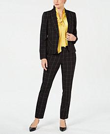 Kasper Printed Blazer, Bow-Tie Top & Printed Pants