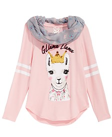 Belle Du Jour Big Girls 2-Pc. Reversible Sequin Top & Scarf Set
