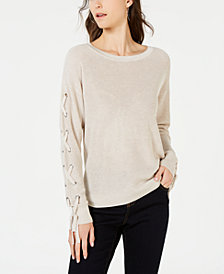 I.N.C. Lace-Up Grommet Sleeve Pullover Sweater, Created for Macy's