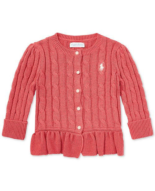 934e4fed022 Polo Ralph Lauren Baby Girls Cable Cotton Peplum Cardigan   Reviews ...