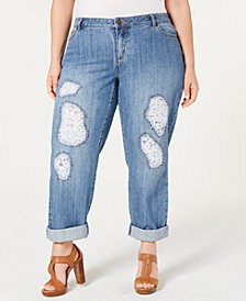 MICHAEL Michael Kors Plus Size Dillon Lace-Patched Jeans