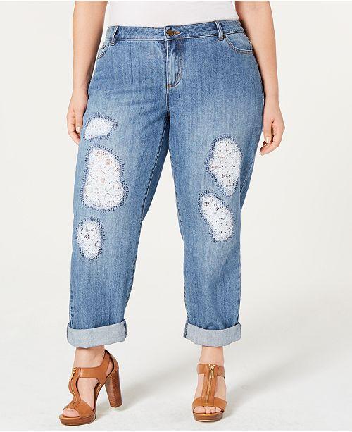 acb92a927f6 Michael Kors Plus Size Dillon Lace-Patched Jeans - Jeans - Plus ...
