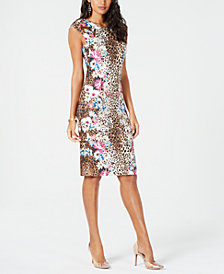 Thalia Sodi Mixed-Print Cap-Sleeve Dress, Created for Macy's