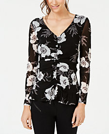 I.N.C. Petite Front-Ruched Tie-Hem Top, Created for Macy's