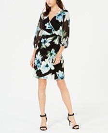 I.N.C. Floral Woven Faux-Wrap Dress, Created for Macy's
