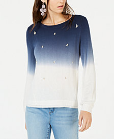 I.N.C. Dip-Dye Embellished Sweatshirt, Created for Macy's