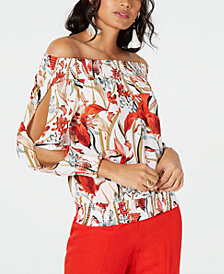 Thalia Sodi Off-The-Shoulder Split-Sleeve Top, Created for Macy's