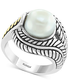 EFFY® Cultured Freshwater Pearl (10mm) Statement Ring in Sterling Silver & 18k Gold Over Silver