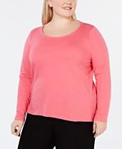 f582334c3b8 Eileen Fisher Plus Size Scoop-Neck Organic Cotton Top