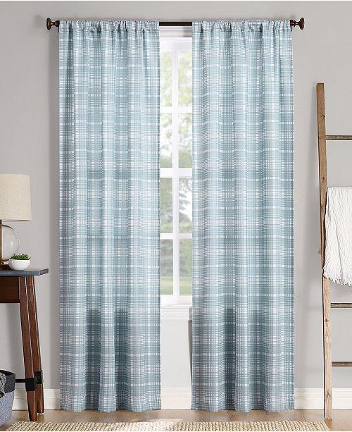"Lichtenberg No. 918 Sebastian Plaid Semi-Sheer Rod Pocket Curtain Panel, 40"" W x 84"" L"
